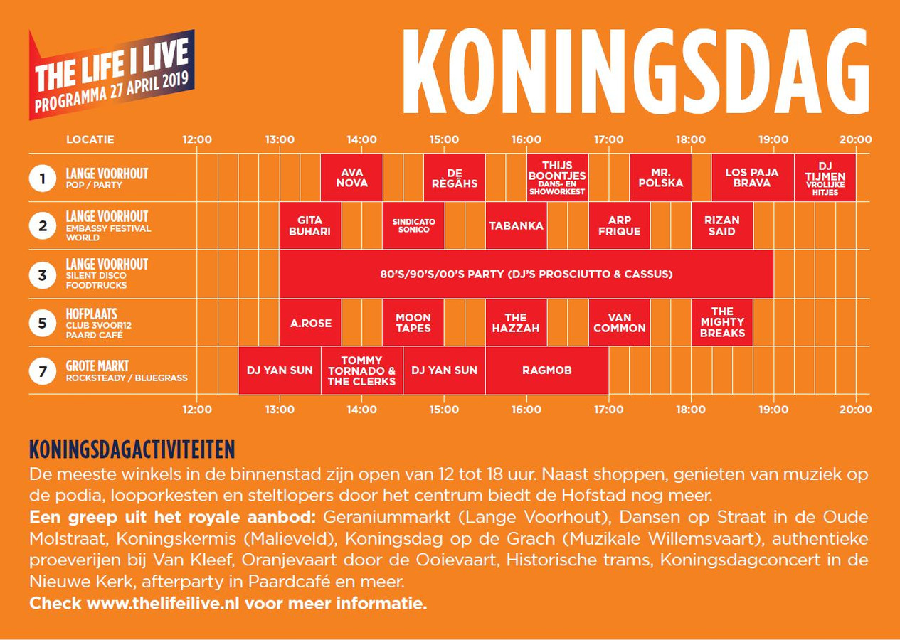 Timetable The Life i Live op Koningsdag