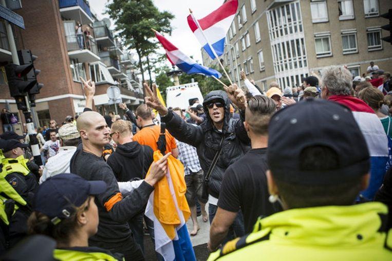 Anti-moslimdemonstratie in de Haagse Schilderswijk. Beeld afp
