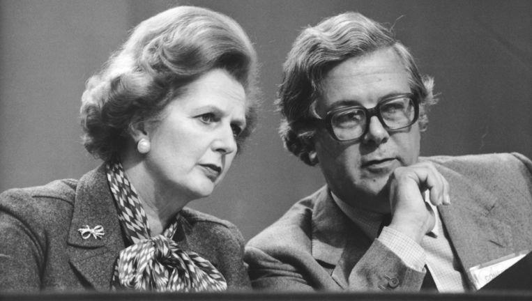 Margaret Thatcher en Geoffrey Howe, toen minister van Financiën, in 1980. Beeld getty