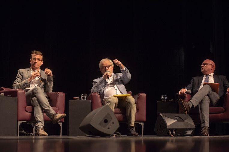 Lijsttrekkers Robbe De Wilde (Groen&Co), Herman Van Assche (N-VA) en Alain Pardaen (CD&V) in debat.