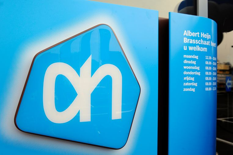 Het Albert Heijn logo in een Albert Heijn filiaal. Beeld BELGA