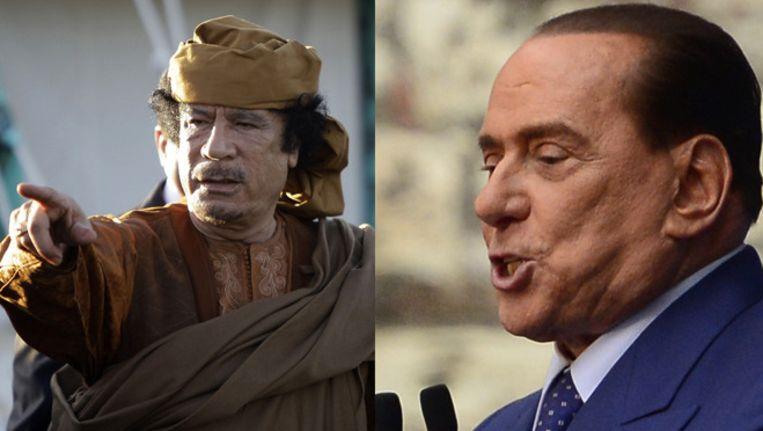 Kaddafi (l) en Berlusconi (r) Beeld AFP