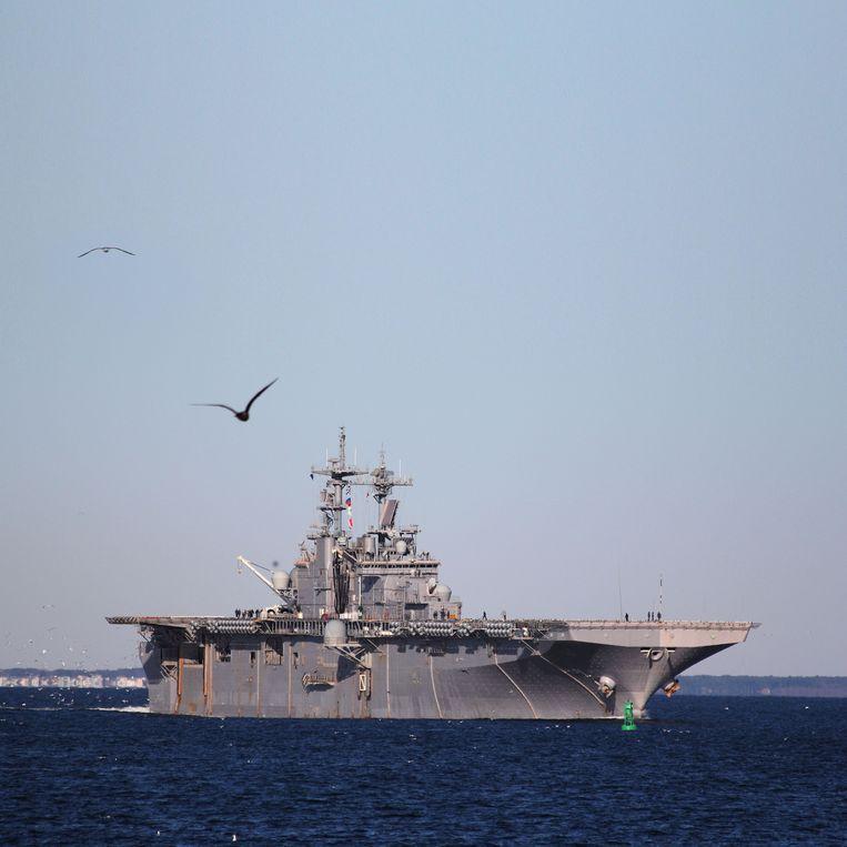 Het Amerikaanse amfibieschip USS Wasp tijdens de Amerikaanse trainingsoefening Bold Alligator 2012 vanuit Norfolk in de Verenigde Staten. Beeld U.S. Navy