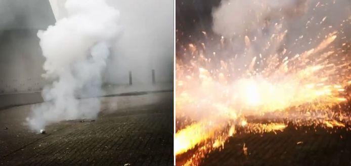 In het filmpje dat de Sliedrechtse burgemeester Bram van Hemmen deelde op social media is te zien hoe een stuk vuurwerk richting handhavers wordt gegooid en in de buurt tot ontploffing komt.