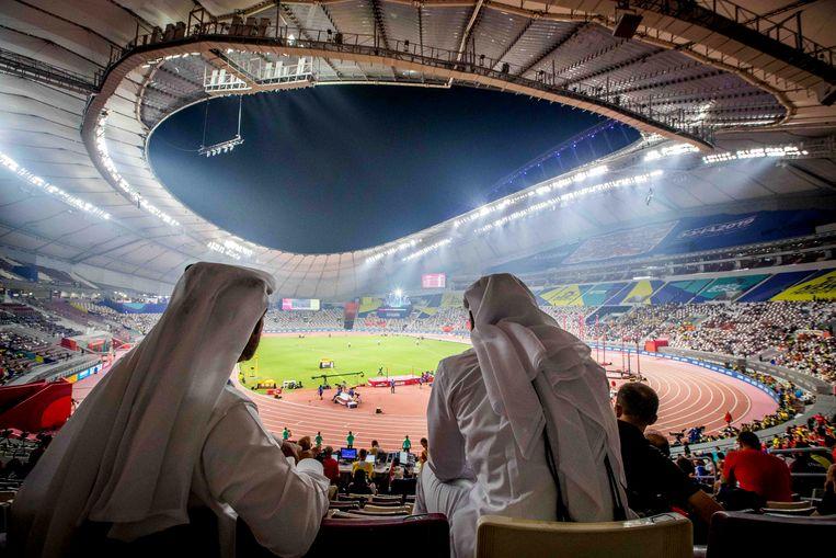 Op de tribune bij de WK Atletiek, in het Khalifa International Stadion in Doha, Quatar.  Beeld BSR Agency