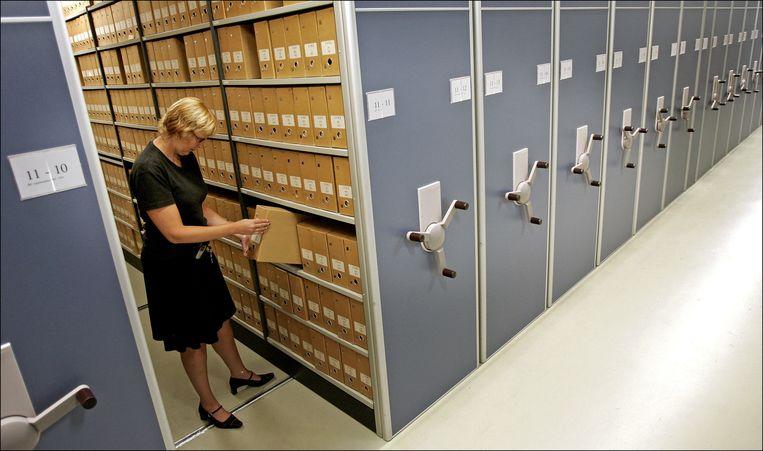 Archiefkasten van het Nationaal Archief in Den Haag. Beeld anp