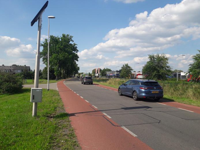 Het meetpunt van de N836, de Wageningsestraat in Andelst. Precies één op de drie bestuurders houdt zich hier niet aan de snelheidslimiet van 50 per uur.