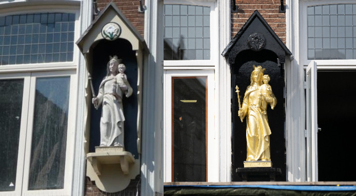 Het Mariabeeld, voor en na