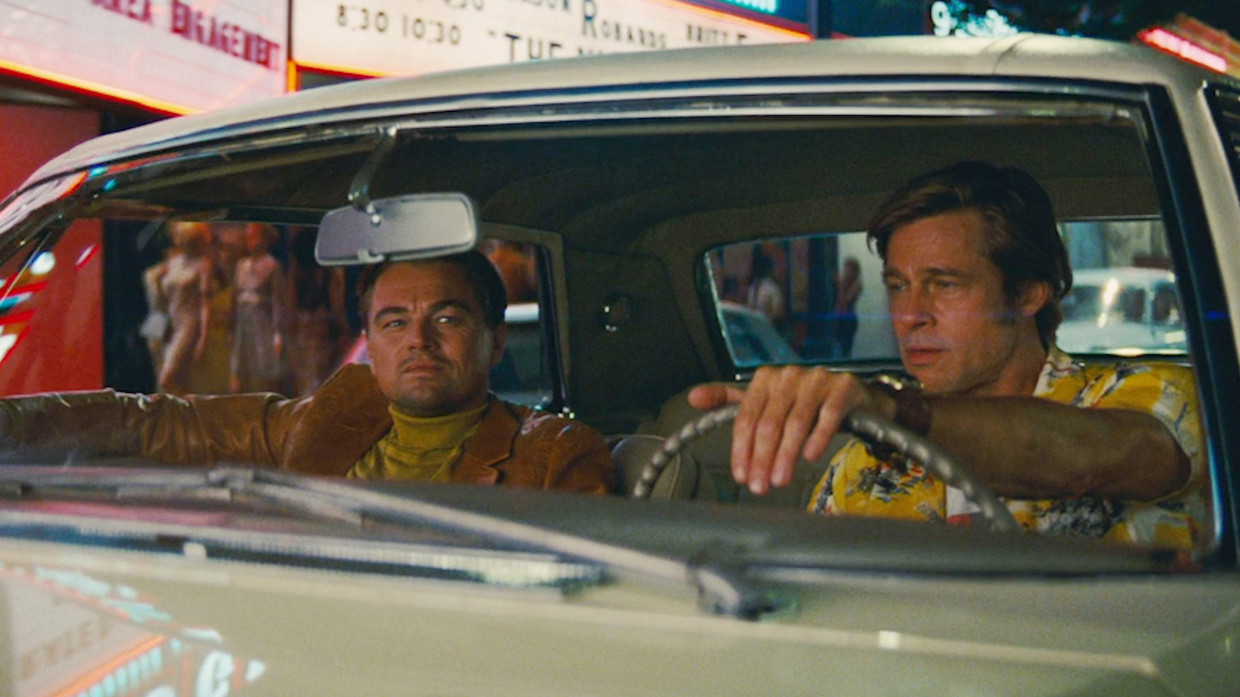 Leonardo DiCaprio en Brad Pitt in Once Upon a Time in Hollywood. Beeld null