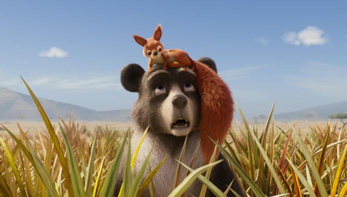 De nieuwe karakters uit de PandaDroom-film: een beer en een eekhoorn.