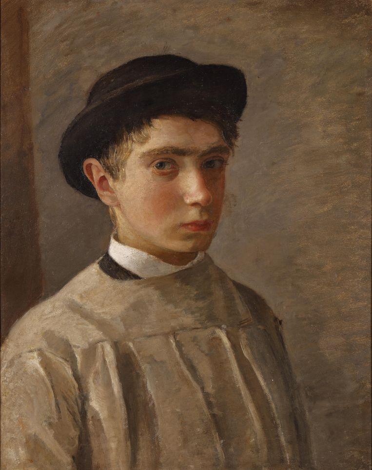 Isaac Israels (1865-1934), Zelfportret met bolhoed, 1882.  Beeld Particuliere collectie