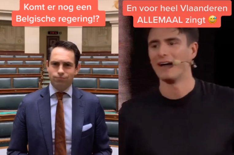 VB-voorzitter Tom Van Grieken en sp.a-voorzitter Conner Rousseau.