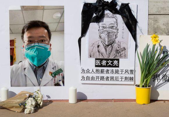 Hu Weifang werkte samen met klokkenluider Li Wenliang (te zien op bovenstaande foto) in het centrale ziekenhuis in Wuhan .
