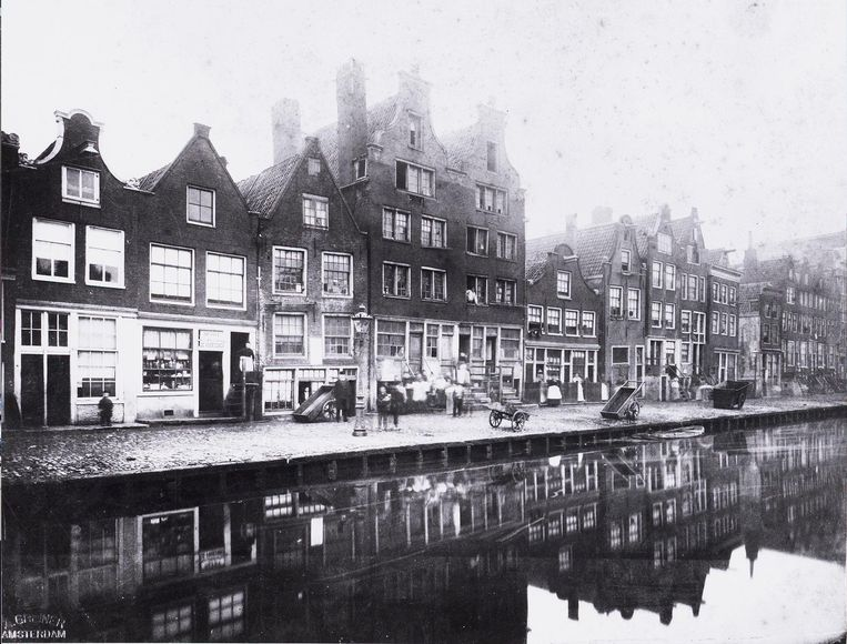 Elandsgracht in 1884. Beeld Greiner, Albert