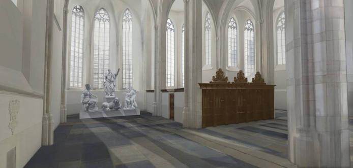 De plek voor de beelden in de Grote Kerk is al bepaald. Illustratie: Kossmann.dejong architecten