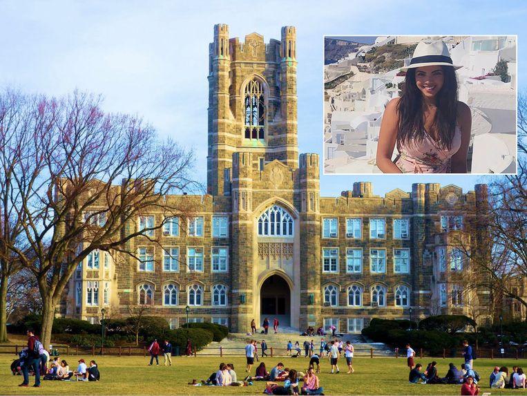 De toren van het universiteitsgebouw Keating Hall, onderdeel van Fordham University.  Inzet: slachtoffer Sydney Monfries (22).