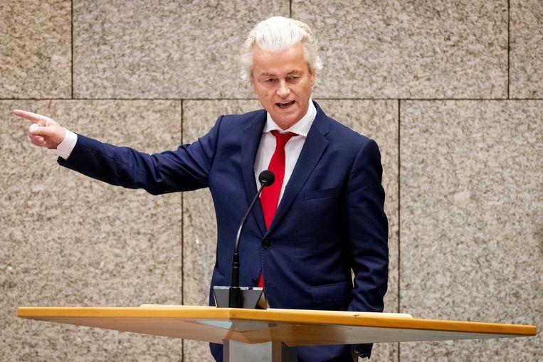 Geert Wilders tijdens het debat over de Europese top van 19 juni. De PVV-leider blijft steun aan Zuid-Europese landen afwijzen. Beeld ANP