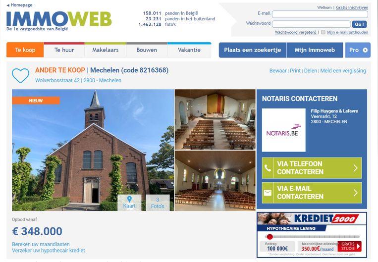 De Sint-Jozefkerk in Battel staat op Immoweb.