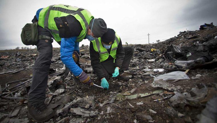 Leden van de Nederlandse missie zoeken op de rampplek van de MH17 naar menselijke resten en persoonlijke bezittingen. Beeld anp