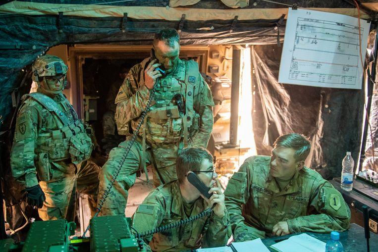 Soldaten op de Amerikaanse legerbasis bij Hohenfels in Duitsland. Beeld Getty