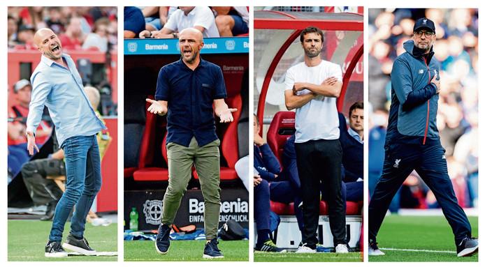 Van links naar rechts: Peter Bosz (Bayer Leverkusen), Alfred Schreuder (Hoffenheim), Gonzalo García (FC Twente) en Jürgen Klopp (Liverpool). De eerste drie trainers zweren bij een casual kledingstijl. Klöpp daarentegen voelt zich als coach het best in een trainingspak en met een pet.