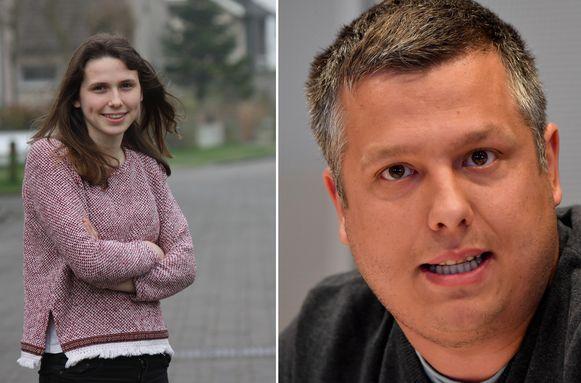 Kandidaat voor de Europese sp.a-lijst Oona Wyns (L) en sp.a-militant Aaron Ooms (R)