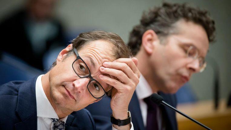 Staatssecretaris Eric Wiebes van Financiën en Minister Jeroen Dijsselbloem van Financiën in de Tweede Kamer Beeld ANP