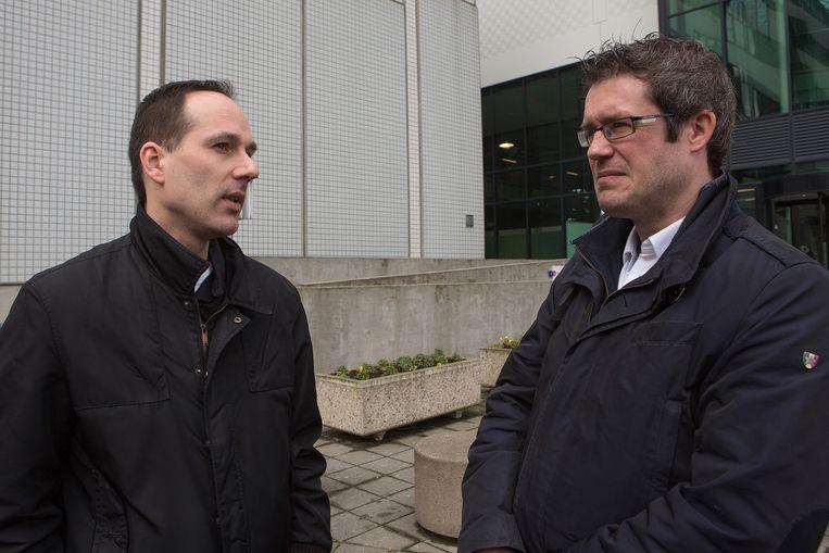 Niels Suijker van FNV en Martijn den Heijer van CNV. Beeld Ton Koene