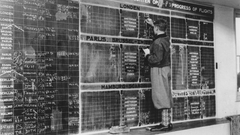 In 1931 noteert de vluchtinformant de vluchten gewoon met een krijtje op een schoolbord. Gelukkig vliegen er nog niet zoveel vliegtuigen vanaf Schiphol. Beeld Schiphol100jaar.nl