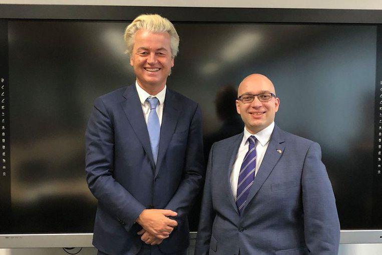 Wilders met Alexander van Hattem, senator en Brabants Statenlid. Hij gaat de lijst van Den Bosch trekken. Beeld null