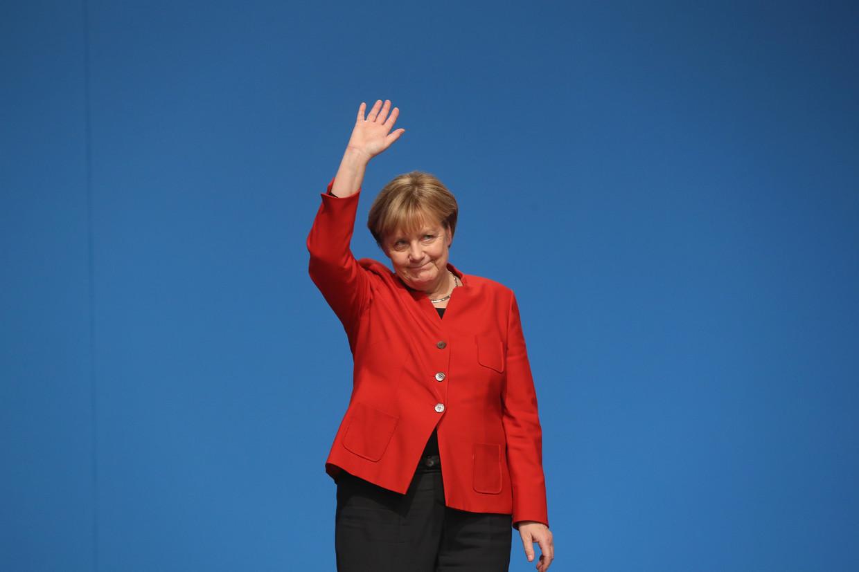 Angela Merkel floreert in crisistijd. Beeld Sean Gallup / Getty