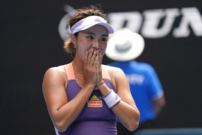 Wang Qiang na haar stunt tegen Serena Williams.