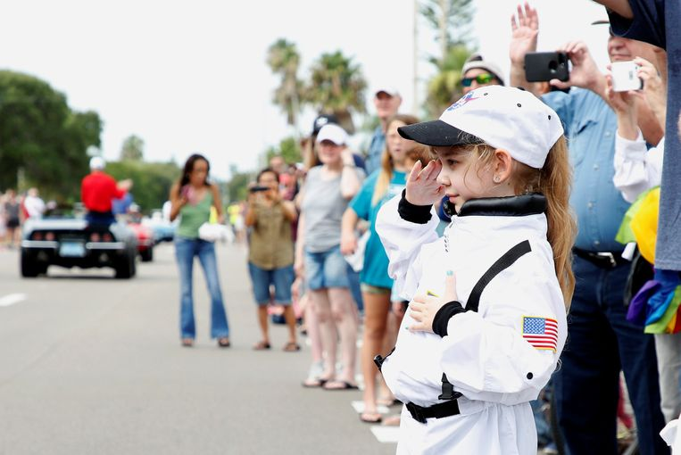 Festiviteiten rondom het vijftigjarig jubileum van de eerste maanmissie in Florida, vlakbij de lanceringsplek van de Apollo 11. Beeld REUTERS