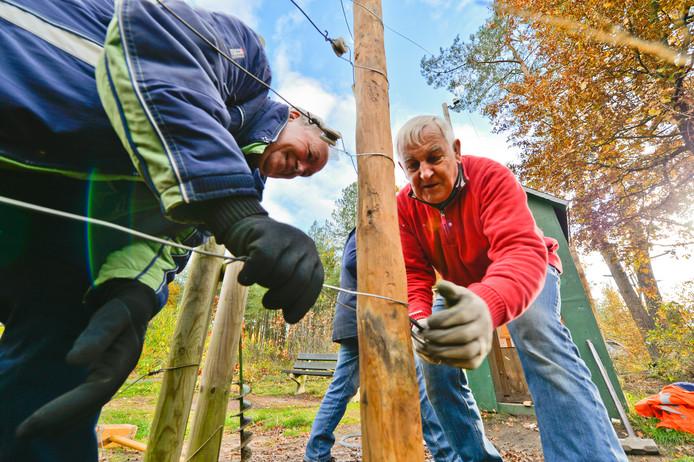 De nieuwe palen van de Dodendraad zijn van acaciahout.