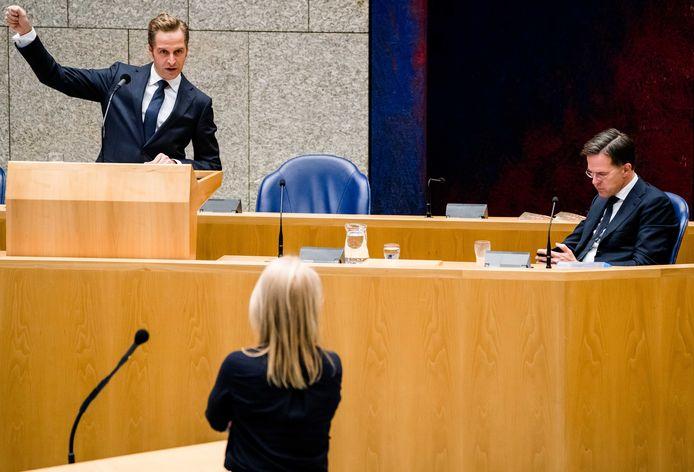 Minister Hugo de Jonge (Volksgezondheid) en premier Mark Rutte tijdens het coronadebat.