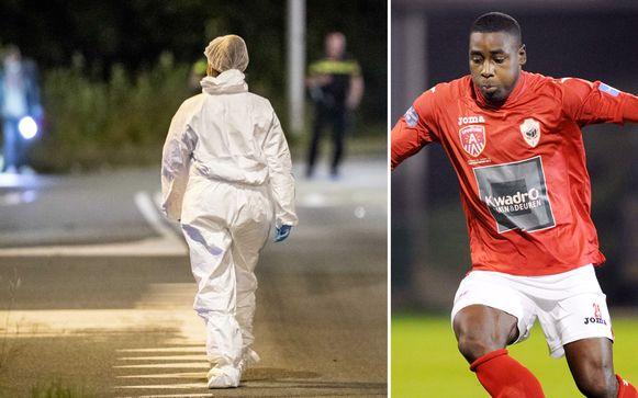 De politie voert onderzoek in de Langbroekdreef in Amsterdam, waar ex-profvoetballer Kelvin Maynard werd neergeschoten.