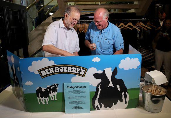 Ben & Jerry's-stichters Ben Cohen (rechts) en Jerry Greenfield. Die laatste heeft de brief mee ondertekend.