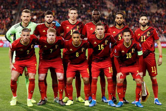 De Rode Duivels die begonnen aan de match tegen Cyprus.