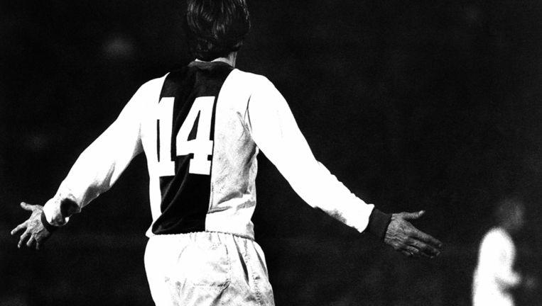 Cruijff bij zijn afscheidswedstrijd in 1978. Beeld Anp