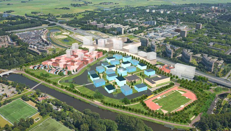 Impressie van de nieuwe wijk Elzenhagen-Zuid langs de Nieuwe Leeuwarderweg in Amsterdam-Noord Beeld -