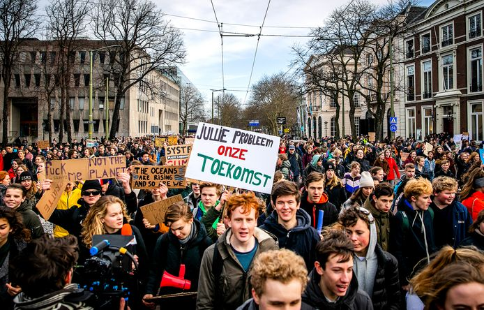 Jongeren spijbelen om actie te voeren tegen klimaatverandering in 2018.
