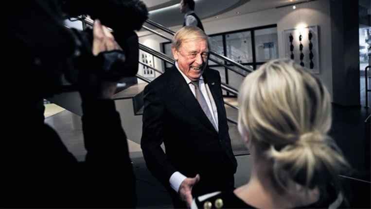 Frits Goldschmeding bij zijn afscheid als grootaandeelhouder van Randstad, donderdag in Diemen. © Julius Schrank Beeld