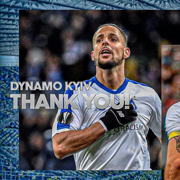 Fran Sol bedankt Dinamo Kiev via Instagram.