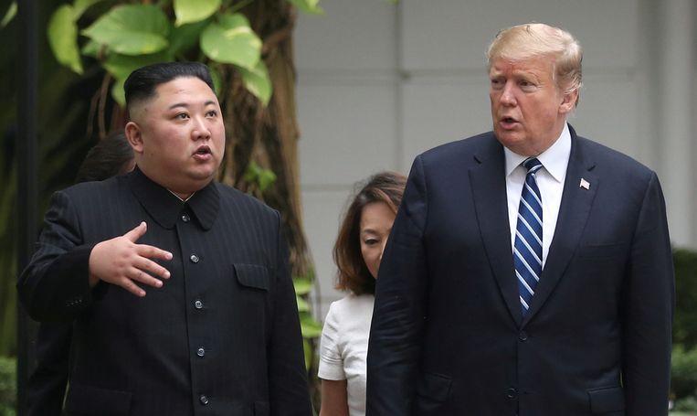 Archiefbeeld. De Noord-Koreaanse leider Kim Jong-un en de Amerikaanse president Donald Trump.