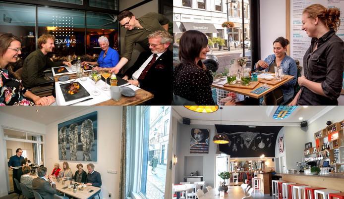 Vier voorbeelden van restaurants die dit jaar al weer gesloten zijn in Breda, na relatief kort bestaan te hebben. Met de klok mee vanaf linksboven: Smaken, By Roots, August en Boca's.