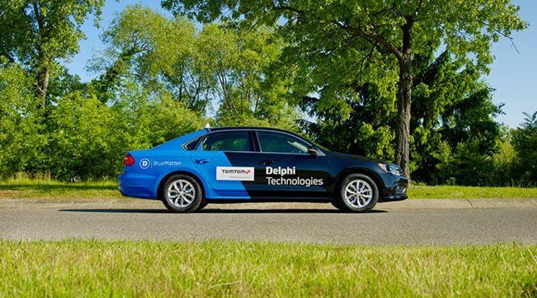 De testwagen van Delphi Technologies