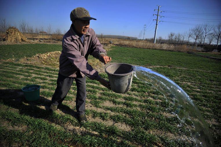 Een Chinese boer geeft zijn droge land water Beeld epa