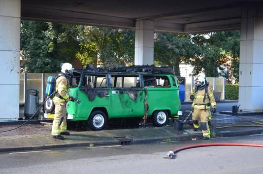 De brand in een busje was snel onder controle.
