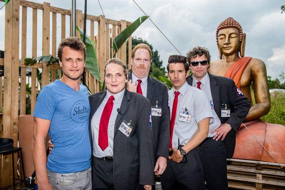 Tv-maker Tim Van Aelst samen met Ruth Beeckmans, Bruno Vanden Broecke, Matteo Simoni en Ben Segers.