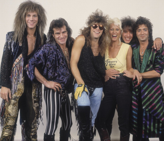 Bon Jovi in 1987. Leadzanger John Francis Bongiovi met zonnebril.